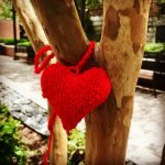 Knit heart on tree